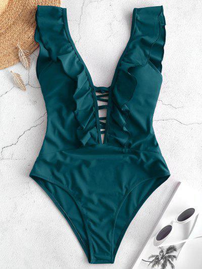 ZAFUL Lattice Criss Cross Ruffle Swimsuit - Peacock Blue M