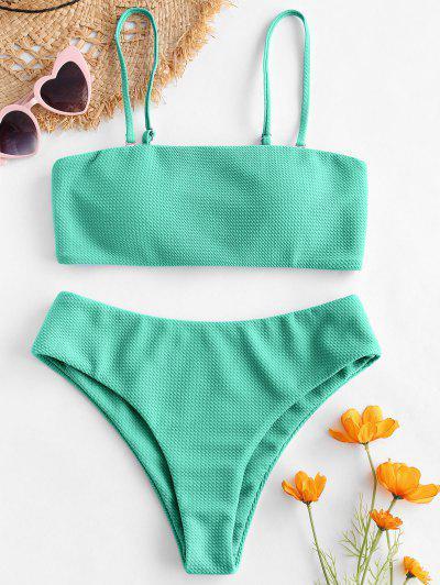 ZAFUL Bikini Bandeau Con Textura - Turquesa Mediana S