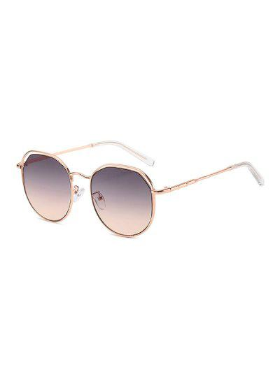Metal Geometric Hollow Sunglasses - Pink