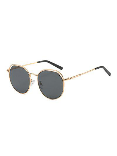 Metal Geometric Hollow Sunglasses - Black