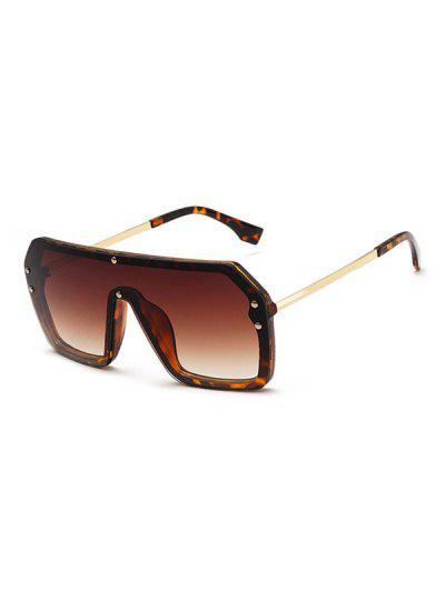 One-piece Rivet Oversized Sunglasses - Brown