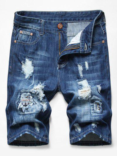 Shorts De Denim Desgarrador De Decoración Con Parches - Azul Oscuro De Denim 32