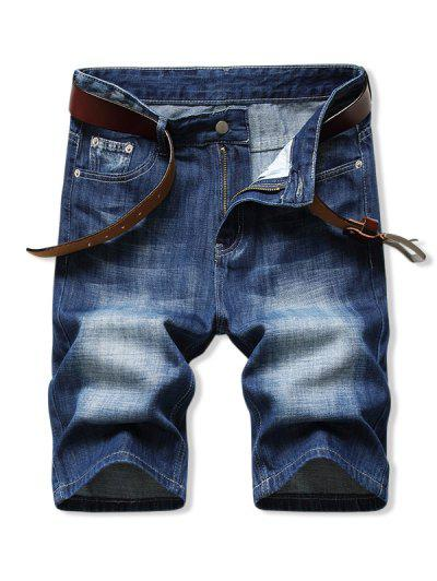 Pantaloncini In Denim Con Cerniera A Tinta Unita - Blu Scura Denim  42