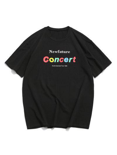 ZAFUL T-shirt Lettre Graphique Imprimée à Col Rond - Noir 2xl