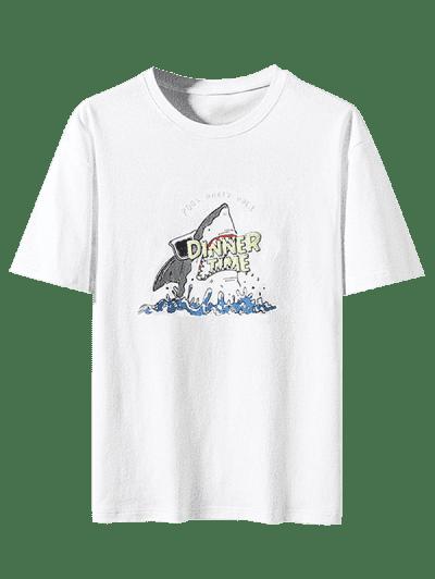 Shark Dinner Time Graphic Basic T-shirt