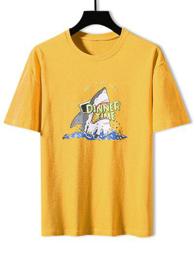 T-shirt De Base Requin Graphique - Jaune M