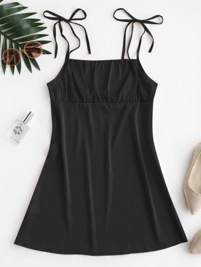 Silky Ruched Front Tie Shoulder Mini Dress - Black M