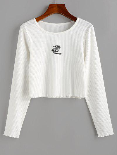 ZAFUL Dragon Print Ribbed Long Sleeve T-shirt - White Xl