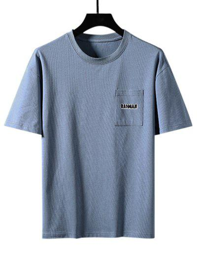 Badman Cartoon Print Pocket Patch Basic T-shirt - Mist Blue 3xl
