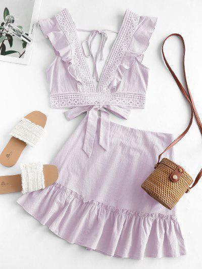 Ruffle Crochet Lace Panel Two Piece Dress - Light Purple Xl