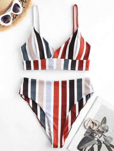ZAFUL Lace Up High Waisted Stripes Ribbed Tankini Swimwear - Multi-b L