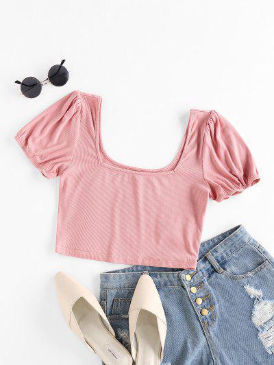 ZAFUL Ribbed U Neck Crop T-shirt - Pink L