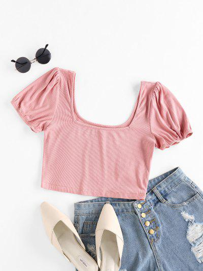 ZAFUL Ribbed U Neck Crop T-shirt - Pink M