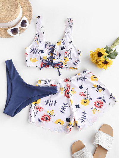 ZAFUL Floral Lace-up Scalloped Three Piece Swimsuit - Multi-a L