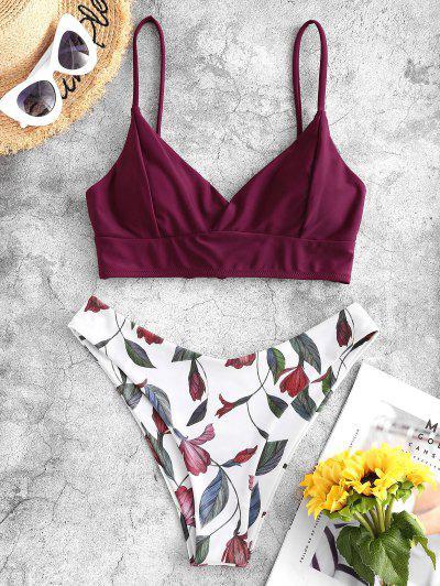 ZAFUL Lace Up Back Floral High Cut Bikini Swimsuit - Plum Pie M