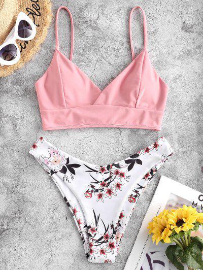 ZAFUL Lace Up Back Floral High Cut Bikini Swimsuit - Rose M