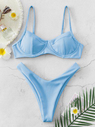 ZAFUL High Cut Ribbed Underwire Bikini Swimsuit - Light Blue L