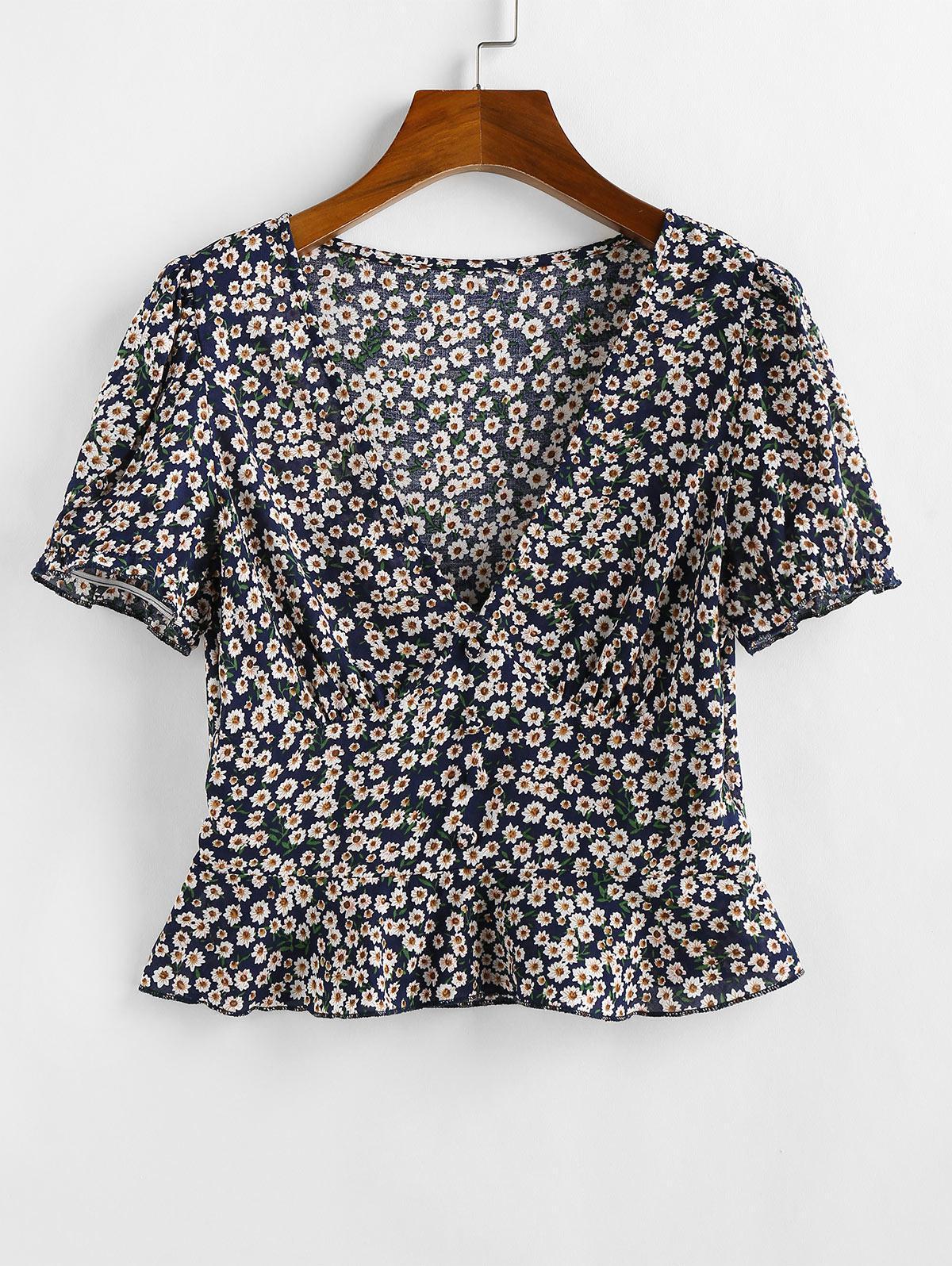 ZAFUL Ditsy Floral Flounce Short Sleeve Blouse thumbnail