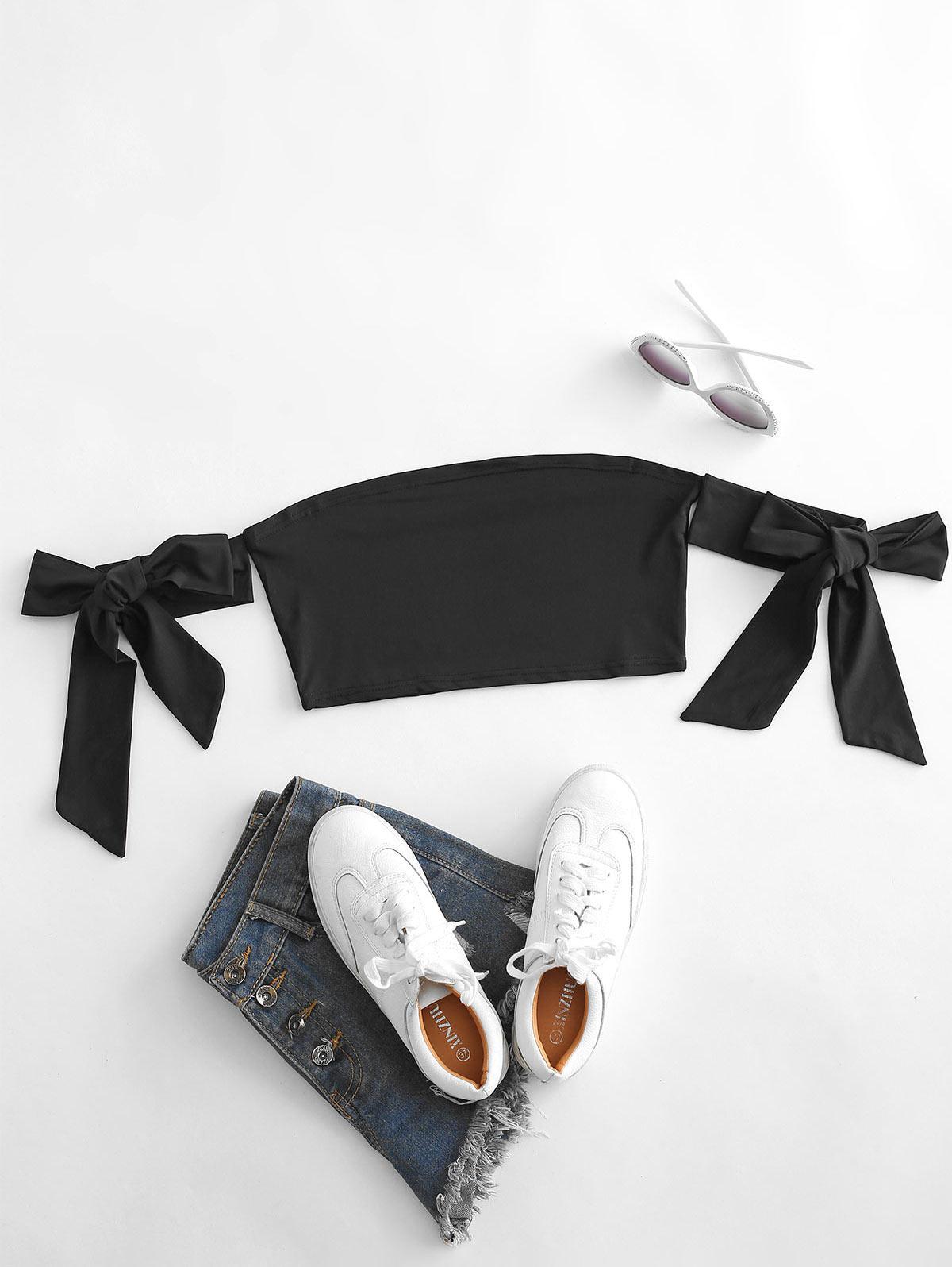 Plain Exposed Shoulder Self-tie Tube Top