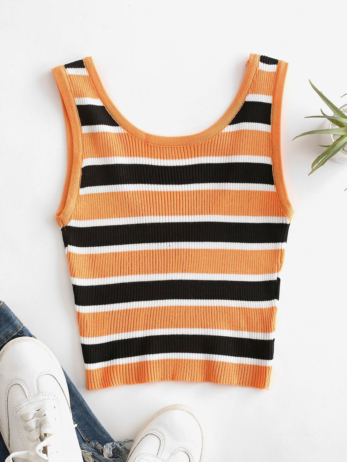 Cropped Stripes Knitted Tank Top
