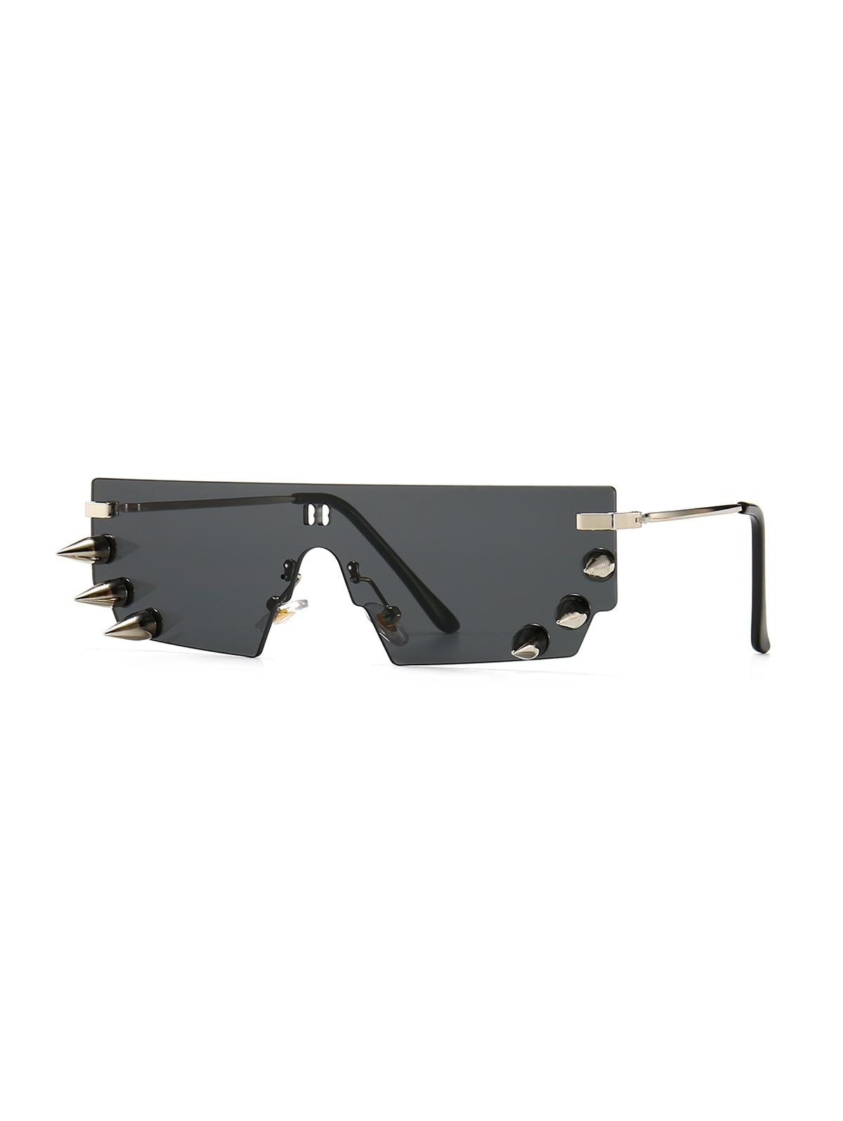 One-piece Rivets Rimless Sunglasses