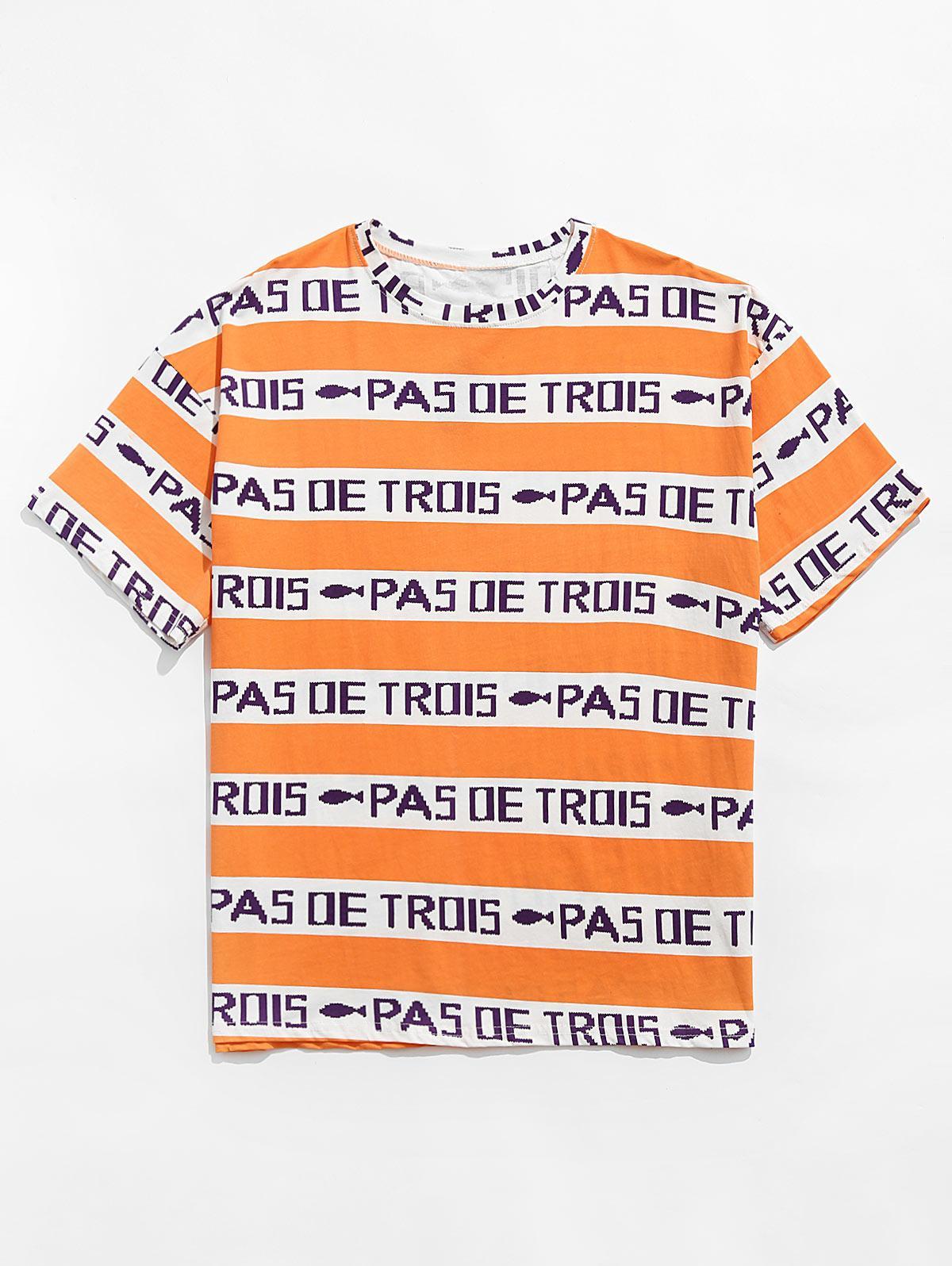 T-shirt Contrasté Lettre Graphique à Manches Courtes Xl Orange