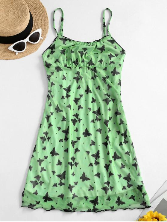 outfits Ruched Front Butterfly Print Cami Dress - GREEN L