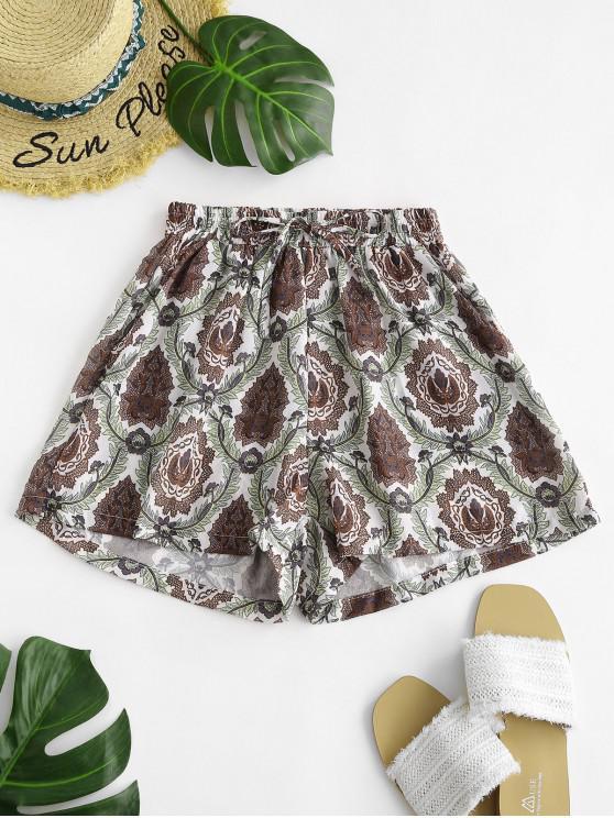hot Drawstring Plant Print Shorts - MULTI S