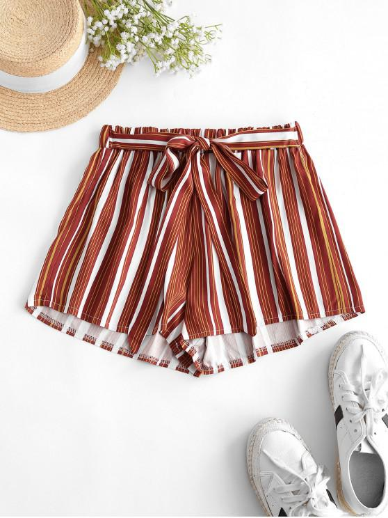 buy Tie Colorful Striped Shorts - CHESTNUT RED S