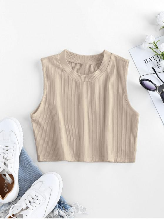 latest ZAFUL Ribbed Crew Neck Crop Tank Top - APRICOT S