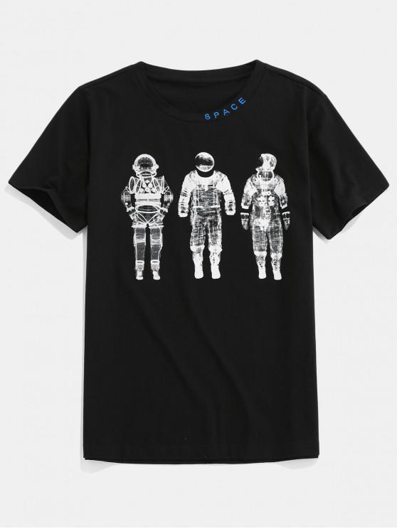 ZAFUL Casual Astronaut Pattern Round Neck T-shirt - أسود 2XL