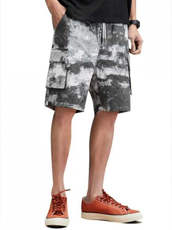 Cloud Wash Decorated Cargo Shorts - أسود XS