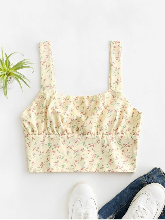 new Smocked Back Ditsy Floral Cropped Tank Top - YELLOW S
