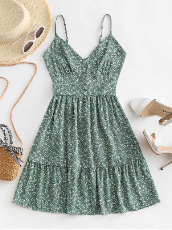 new ZAFUL Ditsy Floral Smocked Back Cami Mini Dress - GREEN S