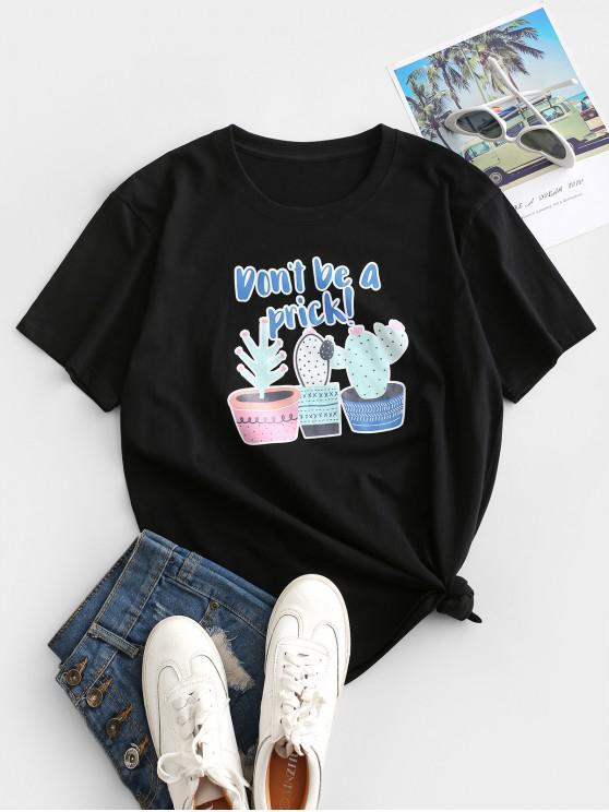 new Potting Cactus Print Don't Be a Prick Short Sleeve T-shirt - BLACK S