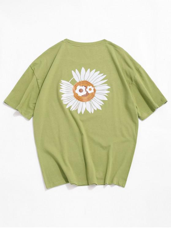 new Chrysanthemum Print Short Sleeves T-shirt - AVOCADO GREEN XL