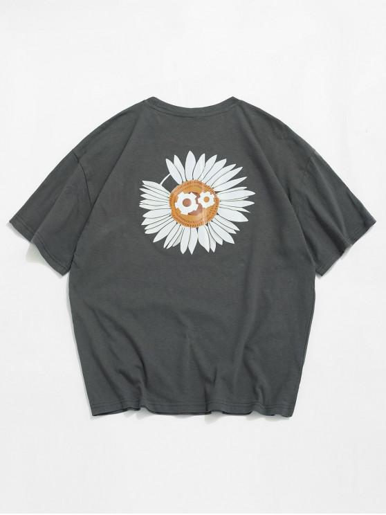 Segelmuster mit Kurzen Ärmeln T-Shirt - Dunkelgrau 2XL