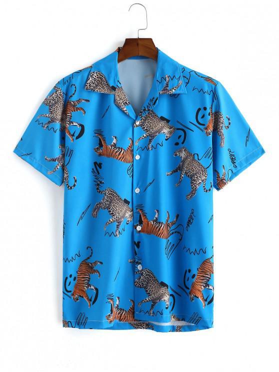 womens Leopard and Tiger Print Button Shirt - OCEAN BLUE 2XL