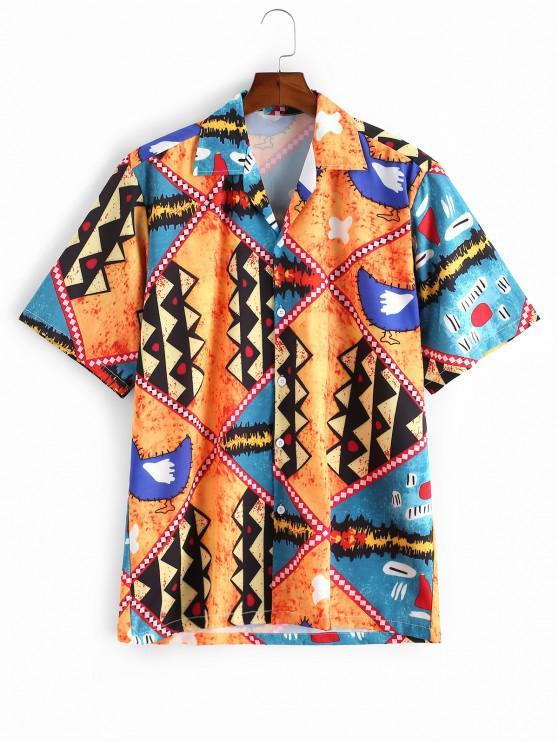 fancy Cartoon Geometric Print Button Vacation Shirt - MULTI-A S