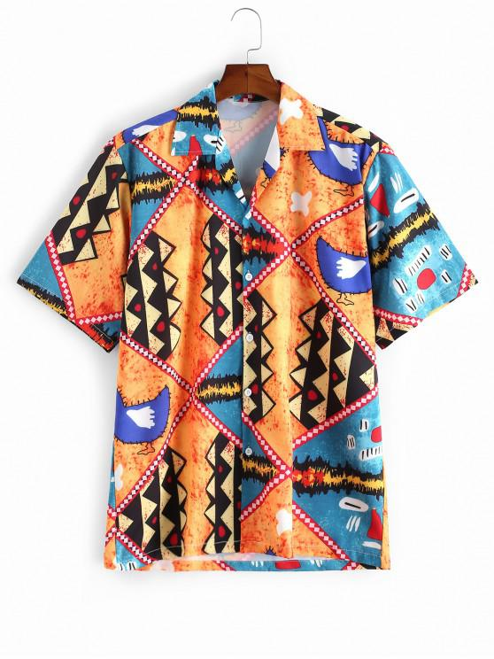 Desen animat de imprimare geometrică Shirt buton Vacation - Multi-A 2XL