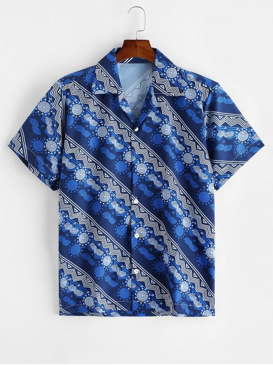 ladies Geometric Graphic Print Casual Button Shirt - LAPIS BLUE L