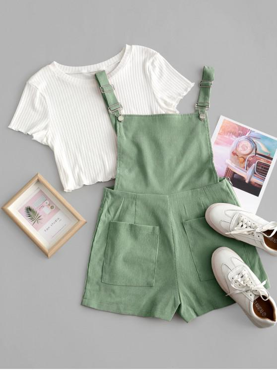 affordable Pockets Corduroy Pinafore Romper with Top - DARK SEA GREEN M