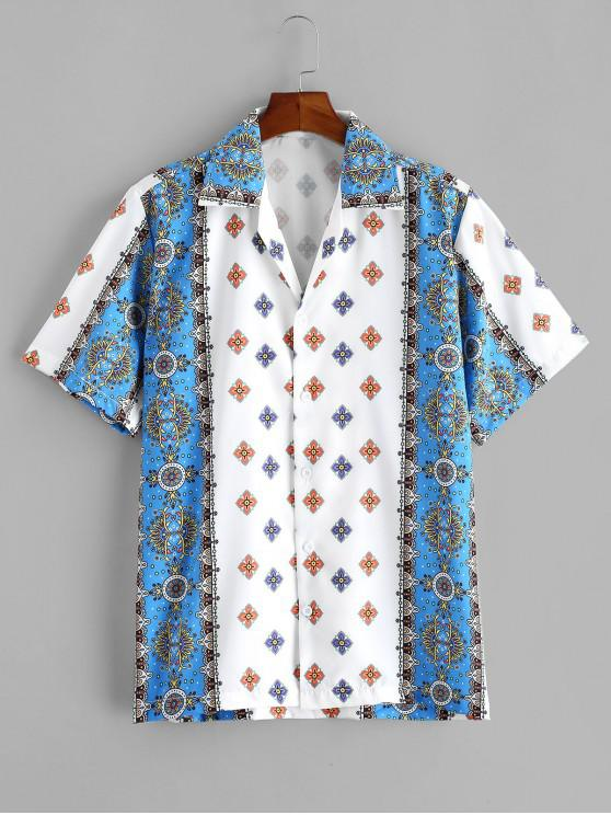 womens Floral Print Short Sleeve Button Vacation Shirt - WHITE S
