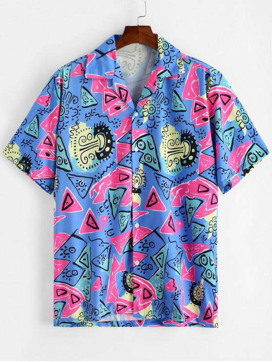 trendy Cartoon Geometric Allover Print Button Shirt - MULTI-A 2XL