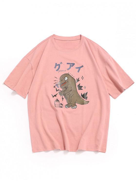 Desen animat dinozaur imprimat gât rotund T-shirt - Roz 3XL