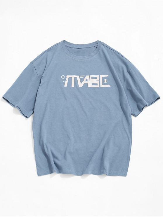 best Graphic Printed Round Neck Casual T-shirt - BLUE GRAY 3XL