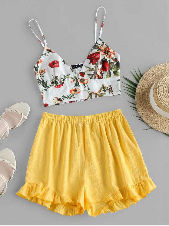 affordable ZAFUL Floral Ruffle Two Piece Set - BEE YELLOW XL