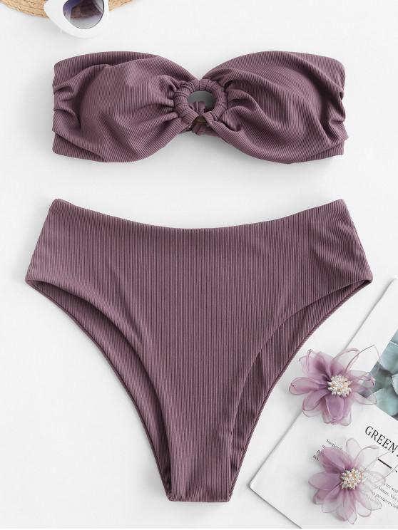 ZAFUL Ring Bandeau Bikini Badebekleidung mit Gerippten Rippen - Dunkles Lila L