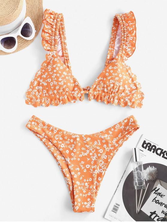 shops ZAFUL Floral Ruffle High Leg Bikini Swimwear - MANGO ORANGE M
