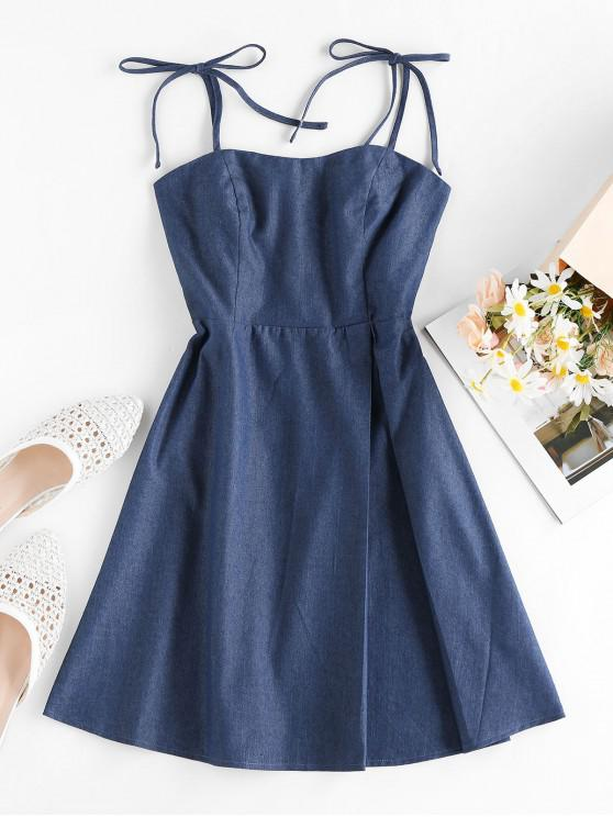 ZAFUL Tie Smocked Chambray Dress - اللازورد الأزرق S